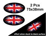 2pcs Fade To Black OVAL Design & Union Jack British Flag Vinyl Car sticker decal 75x38mm